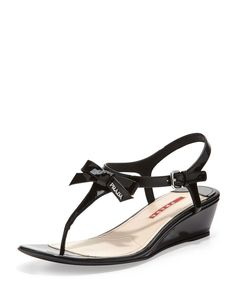 Prada Linea Rossa Patent Bow Demi-Wedge Sandal, Black ,PRADA #TStrap