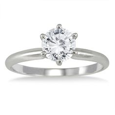 IGI Certified 1 Carat Diamond Solitaire Ring in 14K White Gold *** Read more reviews of the product by visiting the link on the image.
