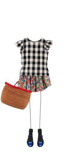 Adelie blouse Black and white gingham Suzon skirt Poppy Liberty Nini basket Camel Socks Black Ella Mary Janes Deep Blue