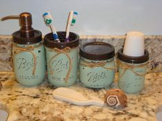 Ball Mason Jar, 17 Add'l Colors, Soap, Toothbrush, Cotton Balls, Q-Tips, 3 oz Cup Holder Dispenser, Set of 4, Housewarming gift,Shower Gift by ItWorks4Me on Etsy