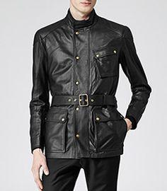 Patriot Black Belted Leather Jacket - REISS