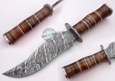 "12.00"" Custom Hand Made Beautiful Damascus Steel Bowie hunting Knife (1006-1) #UltimateWarrior"