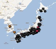 Cat cafes in Japan marked by cat faces on the map. I must go to Japan 😳 Funny Cats And Dogs, Cats And Kittens, Crazy Cat Lady, Crazy Cats, I Love Cats, Cute Cats, Dog Cafe, Japanese Cat, Go To Japan