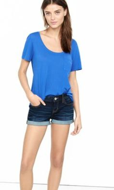 performance stretch mid rise rolled cutoff shorts from EXPRESS