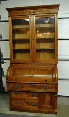 Victorian Walnut Eastlake Cylinder Secretary Desk With Bookcase Top