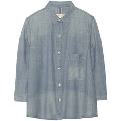 Rag & bone JEAN Cotton-chambray shirt ($140) ❤ liked on Polyvore featuring tops, shirts, button ups, light denim, boxy top, blue chambray shirt, loose shirts, button up shirts and cotton shirts