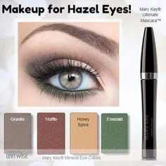 This combination of eye shadow has been selected for all you wonderful ladies with Hazel eyes! Take the guess work out of what colors will work for you! http://www.marykay.ca/smcneely