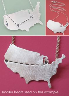 Long distance map jewelry