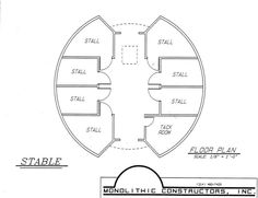 Sample floor plan of a small round horse barn. (7 stalls & tack/feed room)