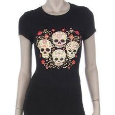 Day of the Dead Four Sugar Skulls Print T-Shirt Plus Size $25 www.4everfunky.com!