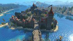 Fantasy Town, Fantasy Castle, Fantasy Map, Fantasy Artwork, Fantasy World, Monuments, Urban Concept, Contemporary History, The Witcher 3