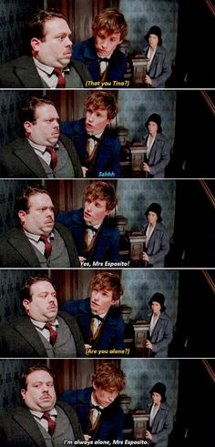 Fantastic Beasts. I love how she sounded so dejected at this point. She must get asked that question a lot by her landlady.