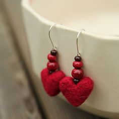 Red heart earrings made from felt wool by HouseOfHandmadeCom, $30.00