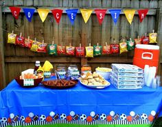 Fun food table at a sports birthday party! See more party planning ideas at CatchMyParty.com! sports party food