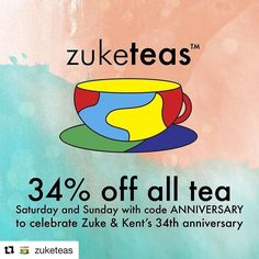Happy anniversary to me and Kent! For our 34th anniversary get 34% off everything at zuketeas.com with the code ANNIVERSARY. This weekend only! #tea #teaforsingers #musicbiz #musicbusiness #organic #organictea #anniversary