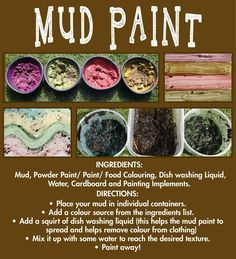 Mud Paint recipe to be put in mud kitchen (simplify & reproduce) Forest School Activities, Nature Activities, Toddler Activities, Outdoor Preschool Activities, Camping Activities, Outdoor Education, Outdoor Learning, Outdoor Classroom, Outdoor School