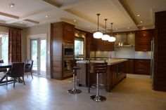 Walnut horizontal grain kitchen - contemporary - kitchen - indianapolis - Susan Brook Interiors
