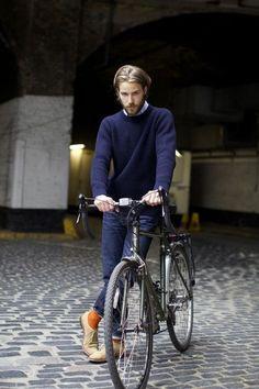 scandinavian // menswear, mens style, fashion, sweater, navy, denim, street style, bike, cycling, haircut, hair style
