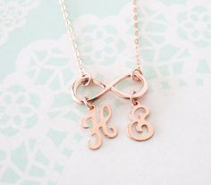 Personalized Infinity necklace letter initial by ColorMeMissy
