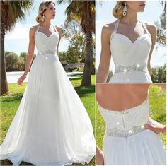 Custom Made Halter Backless Chiffon Wedding Dress Bridal Gown, Empire Wedding Dress , Glamorous Wedd on Luulla