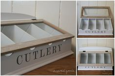 Large Vintage White Wooden Cutlery Box