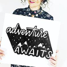"@peteandpen on Instagram: ""✨adventurers, unite! tag a fellow adventurer!✨ *new print in the shop noooow! link in bio.*…""60 Likes, 9 Comments - a l e x k p e t e #handlettering #adventure #illustration #handtype"