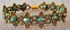 """Linda's Crafty Inspirations: Bracelet of the Day: Bobble Band - Turquoise Picasso--BOBBLE BAND 11/0 seed beads Miyuki """"Bronze"""" (11-457) 8/0 seed beads Miyuki """"Hybrid Opaque Turquoise Blue Picasso"""" (8-4514) 6mm fire polished beads """"Turquoise Bronze Picasso""""--Free pattern"""