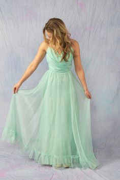 RESERVED// Mint Seafoam Green Vintage Bridesmaid Party Prom Long Dress.. $74.00, via Etsy.