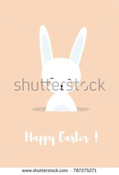 a cute funny bunny smiling and sitting or hiding in a hole;  happy Easter poster or card with a rabbit; vector flat cartoon illustration