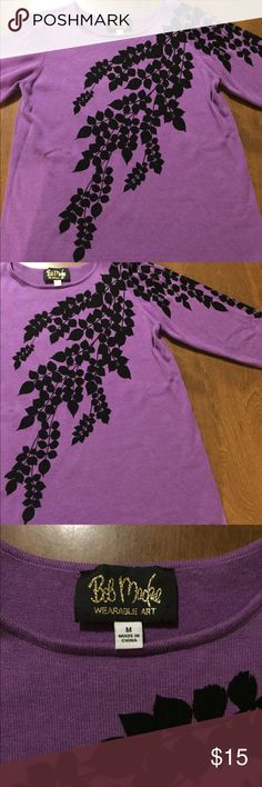 """Bob Mackie purple top M Very pretty wearable art top by Bob Mackie. Purple with black leaves on front & back. measures 19"""" armpit to armpit & 27"""" from shoulder to bottom.  In EUC  Size M Bob Mackie Tops"""