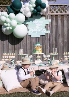 Cutest dessert table and decor at Dinosaur Explorer Birthday Party | Kara's Party Ideas