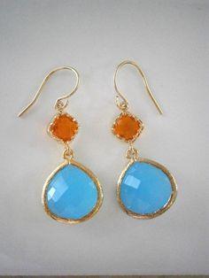 Aqua Blue Orange Gold Framed Glass Earrings by LisaDJewelry, $36.00