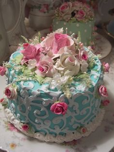 pink roses, beauti cake, alice in wonderland, flower cakes, cake decorations, garden cakes, blue cakes, rose cake, party cakes