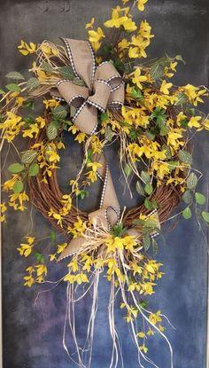 Front door wreath, spring wreath, summer wreath, everyday wreath, forsythia wreath