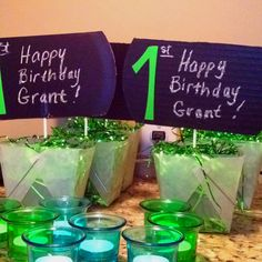 Table decorations using dollar tree stuff and chalkboard paint!