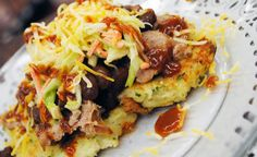 LOADED BAKED POTATO PANCAKES - If you like pancakes for dinner, you have to try these. Instead of being sweet, these unique pancakes have the hearty BBQ flavor you'll love, combined with a mixture of bratwurst, coleslaw and baked beans. Find all the ingredients at VALLEY NATURAL FOODS. www.valleynaturalfoods.com