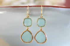 Dangle Earrings - Tiffany Blue Glass, Gold Wrapped - Bridesmaids Earrings - Bridal Earrings - Everyday $28.00