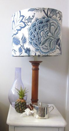 Lamp Shade Make Over in Blue and White