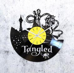 Tangled vinyl record clock