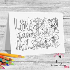 Love Never Fails Coloring Printable Note Cards | Etsy Jw Gifts, Love Never Fails, To Color, Note Cards, Card Stock, Coloring, Printables, Notes, Lettering