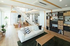 Designs by Style, City Living Room White Sofa Rug Wooden Floor: Contemporary Japanese Style Interior Design