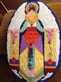 Brenda Stofft nativity needlepoint stitch guide and stitched by Colleen Church