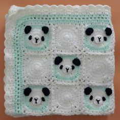 Free Shipping Hand Knitted Panda Bear Baby Blanket by Cansupo
