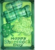 "Happy Shamrock St. Patrick's Day Garden Flag by DDF. $5.99. 12""x18"". 100% durable polyester. Text correctly readable on one side of flag only!. Decorative Flags make a great home and garden decoration for any holiday!"