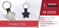 El artículo del día es el M 2030 LLAVERO STAR (INCLUYE CAJA INDIVIDUAL.) Conoce más de él en www.promoopcion.com Material: Curpiel/Metal Medida: 4x7.5 cm Área de impresión: 2x1 cm Técnica de impresión recomendada: Láser Color: Negro  CONSULTA EXISTENCIAS Y PRECIOS CON TU EJECUTIVA DE CUENTA.
