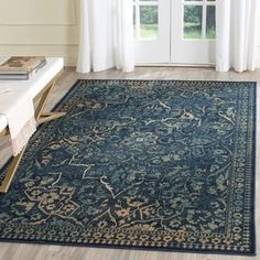 Arrow Dark Blue / Yellow Area Rug