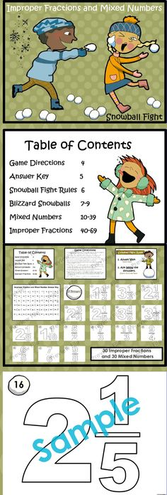 """Improper Fractions and Mixed Numbers """"Fraction Game"""" Improper Fractions, Teaching Fractions, Teaching Math, Teaching Ideas, Fun Math, Math Games, Math Activities, Math Classroom, Classroom Ideas"""