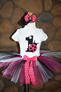 1st 2nd or 3rd Birthday Pink Ladybug Tutu with by sweetlilytutus, $42.00
