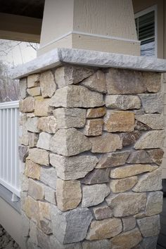 Highland Scotch Siena veneer stone masonry warms this stone home's front porch with the craftsman style of real stone pillars. Faux Stone Veneer, Faux Stone Siding, Faux Stone Panels, Stacked Stone Panels, Stone Veneer Panels, Stone Facade, Stone Masonry, Stone Cladding, Stone Exterior Houses
