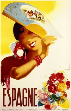 Espagne poster by Morell Spain - Vintage Posters Reproductions. This vertical Spanish travel poster features a woman in traditional dress with flowers in her hair, red lipstick, bracelet and shawl holding up a fan. Giclee Advertising Print. Classic Poster
